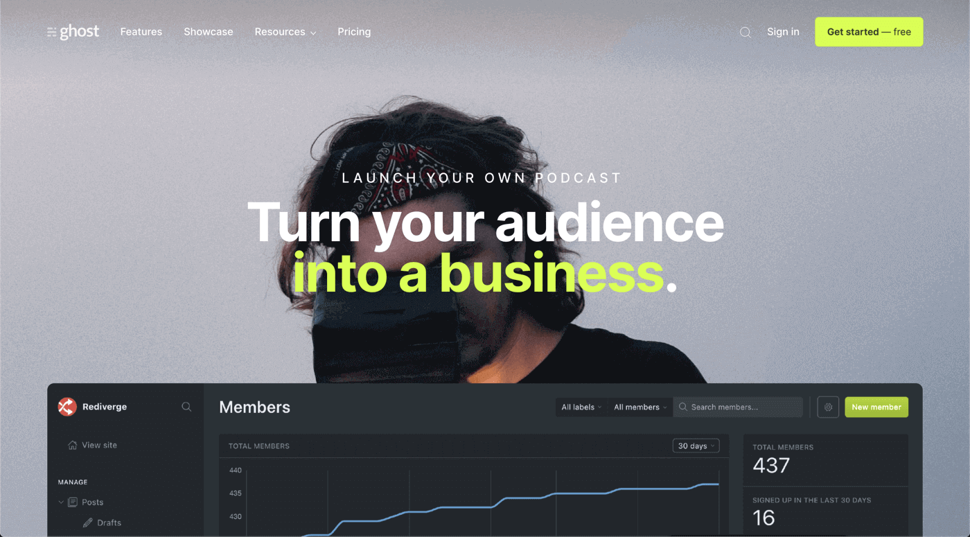 Ghost official website screenshot