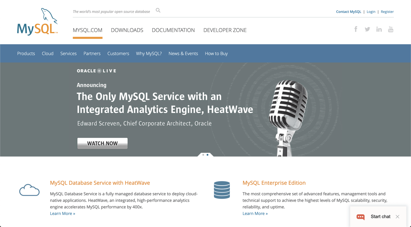 MySQL official website screenshot