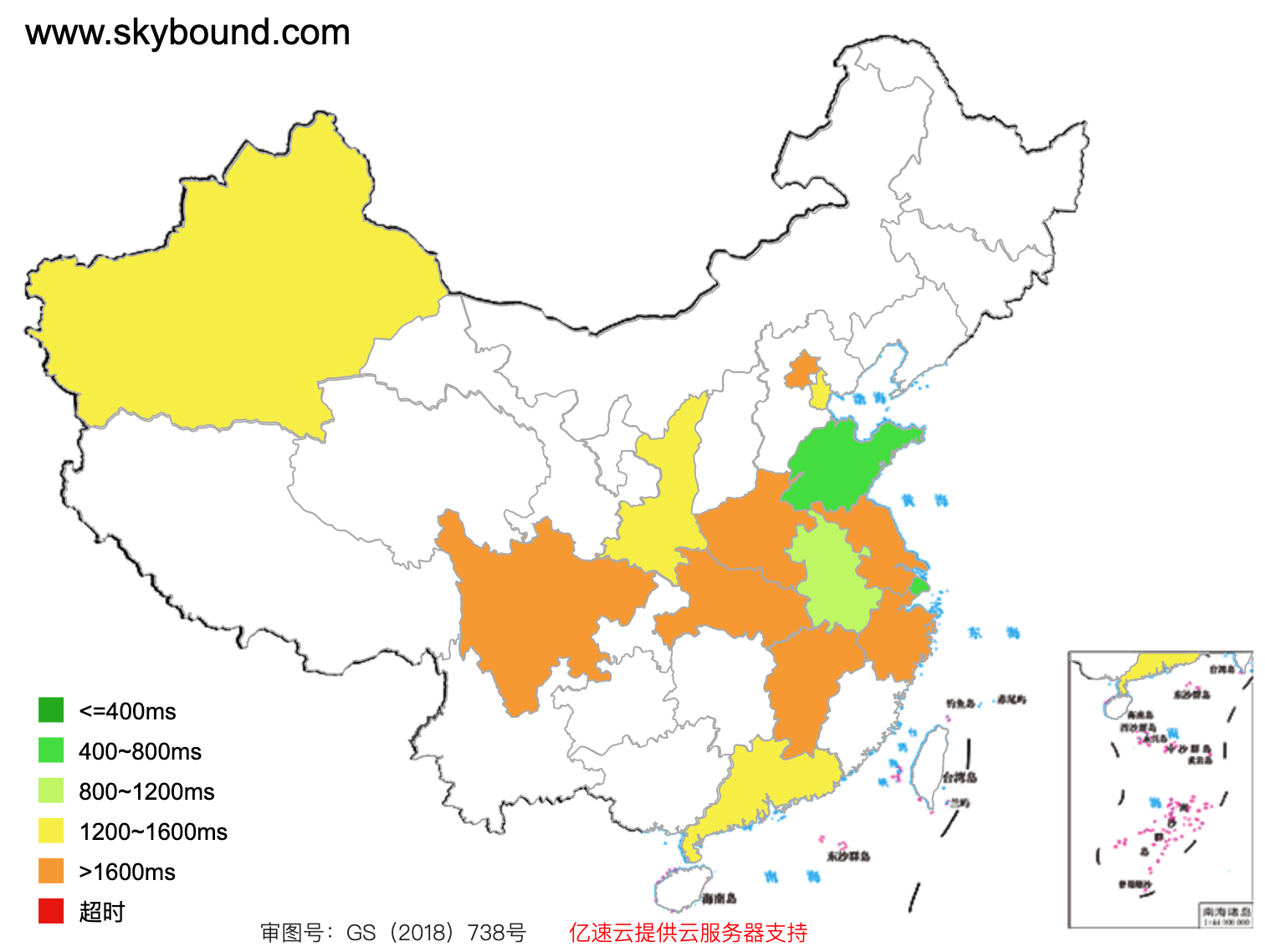 www.skybound.com access speed across mainland China (green: fast, red: slow)