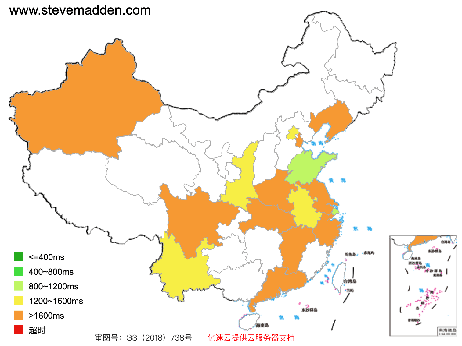 www.stevemadden.com access speed across mainland China (green: fast, red: slow)