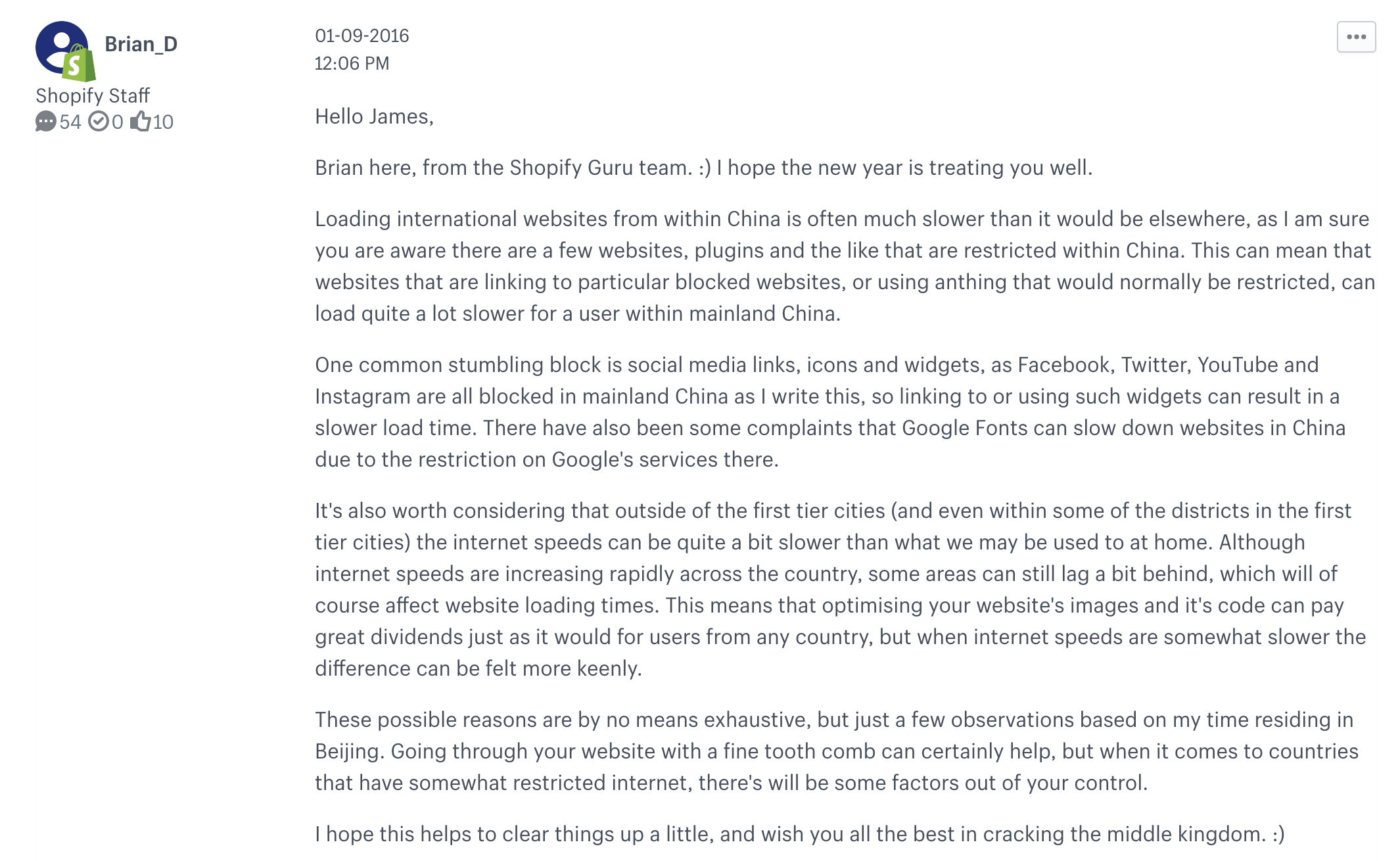 Shopify Guru Team's response to Shopify China's slow visit. https://community. shopify.com/c/Shopify-Discussion/Speed-of-Shopify-in-China/td-p/277569